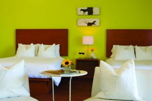 Brightly colored Hotel Casa 425 room in Claremont CA