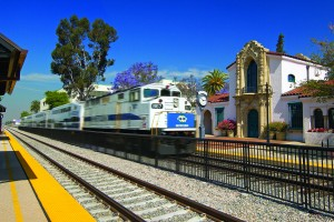 Metrolink stops at Claremont CA historic depot