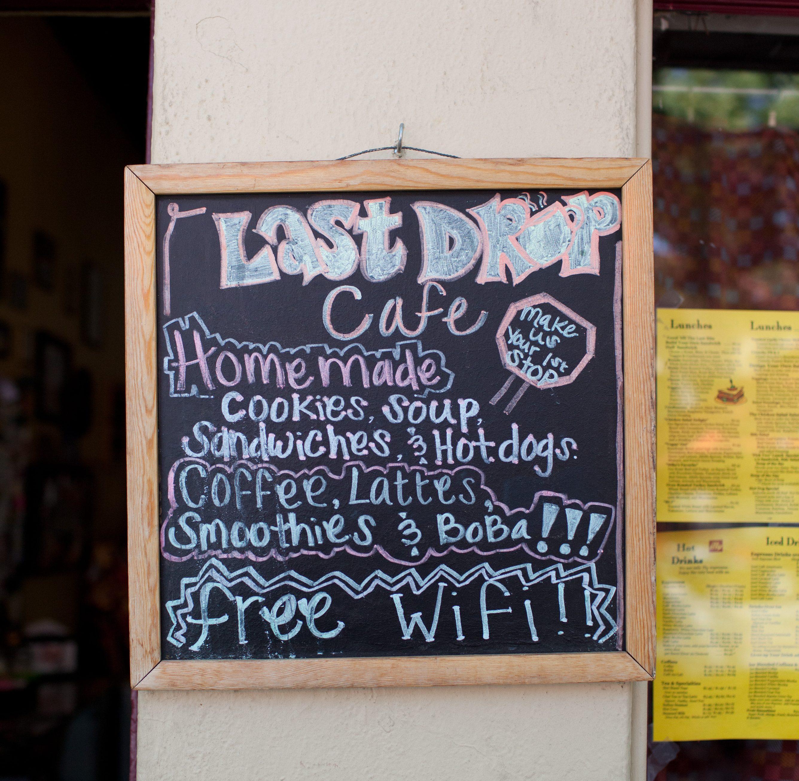 Last Drop Cafe Menu Sign In Claremont Ca Discover